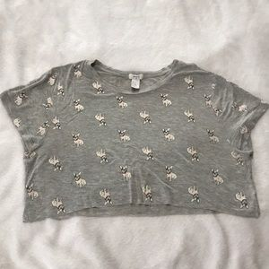 Large Cropped Grey French Bulldog Tee Forever 21